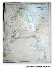 GENUINE ANTIQUE VICTORIAN MAP THE SUEZ CANAL 138 YEARS AGO INC CAIRO PORT SAID