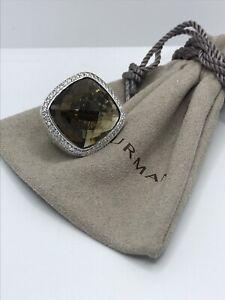 David Yurman Sterling Silver Albion 20mm Smoky Topaz & Diamond Ring Sz 8