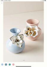 Anthropologie Flower Ceramic Bloom Vase Blue NWT
