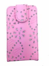 PINK FASHION DIAMOND BLING FLIP CASE FOR SAMSUNG GALAXY ACE S5830 (2011) UK SELL
