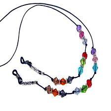 Reading eye glasses beaded cord lanyard,  Colorful crystal rainbow