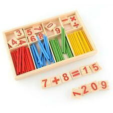 Wooden Math Counting Game Sticks Kids Educational Learning Numbers Abacus Toys