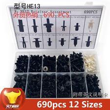 Plastic 12-Sizes 690 pcs Car Push Pin Rivet Trim Clip Panel Interior Assortments