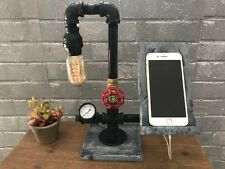 Industrial Lighting Cell Phone Docking Station-Edison Lamp- 2 Colors
