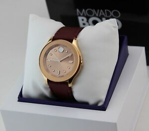 NEW AUTHENTIC MOVADO BOLD ROSE GOLD BURGUNDY SILICONE IP WOMENS 3600429 WATCH