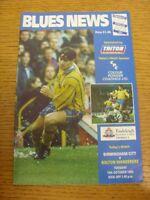 19/10/1993 Birmingham City v Bolton Wanderers  (team changes). Footy Progs (aka