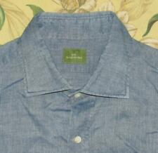 SID MASHBURN Blue Chambray Longsleeve Button Down Shirt Linen Cotton Blend M