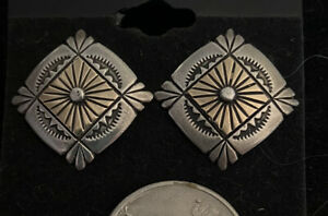 Vintage Old Pawn Sterling Silver Concho Earrings Southwestern Native American