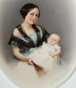 Antique KPM porcelain plaque handpainted portrait Mother & Baby - Franz Till