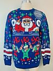 Party Sweater SANTA CLAUS MUSIC DJ Ho Ho Yo Funny UGLY CHRISTMAS SWEATER Sz S