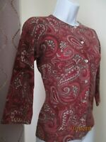 Tweeds Multicolor Paisley Wool Blend Cardigan Sweater, Women's Petite Small