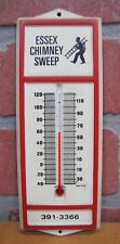 Old ESSEX CHIMNEY SWEEP Advertising Thermometer Sign made in USA
