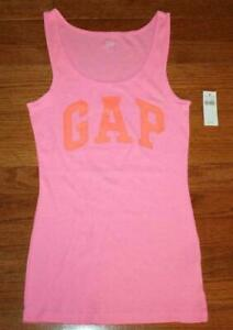 NEW NWT Womens GAP Arch LOGO Pink Tank Top Ribbed Stretch Slim Fit Fitted *B1