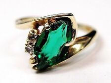 14K Yellow Gold Genuine Solitaire Marquise Emerald & Diamond Design Ring 5.00