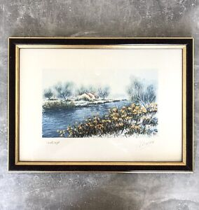 """Gemälde """"Landscape"""" signiert Morgan - Landschaftsmalerei mit Bilderrahmen"""