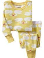 Old Navy Baby Toddler White Swan Hearts Yellow Sleep Set Pajamas 2-5T 12-18-24mo