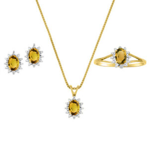 November Birthstone Set - Ring, Earrings & Necklace Citrine / Yellow Topaz 14K