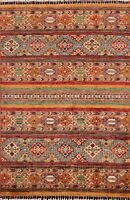 Vegetable Dye Super Kazak Geometric Oriental Area Rug Tribal Hand-knotted 3'x5'