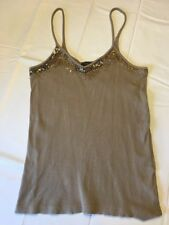Ralph Lauren Blue Label Tank Top Olive Gold Bead Detailed Size Medium