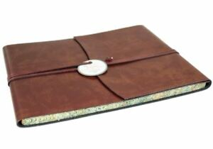 Romano Recycled Leather Guest Book Chestnut, Extra Large - Handmade in Italy