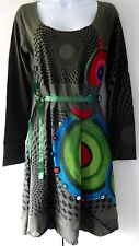 New Desigual Ladies Dress, Mila, Green&Multi, Size L, Full Sleeves, Scoop Neck