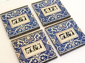 Antique English Tiles, Minton, 1800s Tiles, Set of 4, Blue and White