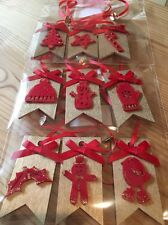 9 X Christmas Gift Tags Hanging Decoration Parcel Present Tag Handmade Gold Red