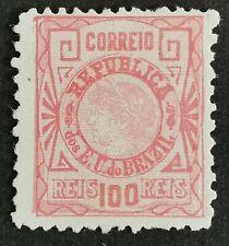 Brésil 1893 Liberty Head YT78 100r Rose LH/NO Gum