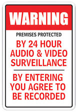 PREMISES PROTECTED BY 24H AUDIO & VIDEO Decal surveillance camera