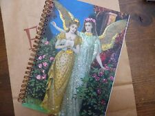 Angel Peace Glitter Art Deco Style Hand Made Notebook Blank Plain Spiral Bound
