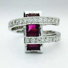 18K white gold ladies tourmaline and diamond right hand ring
