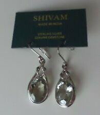 Shivam Sterling Silver Green Amethyst Oval Wire Earrings - New
