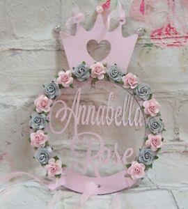 Personalised MDF  Princess Crown Name Plaque Bedroom Door Sign Flower Plaque