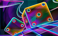 Framed Print - Bright & Colourful Neon Dice (Picture Poster Art Gambling Poker)