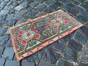 Carpet, Doormats, Small rug, Vintage handmade rug, Wool rug | 1,1 x 2,0 ft