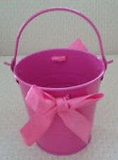A Hot Pink Small Tin Pail/Bucket with Pink Fabric Bows!.