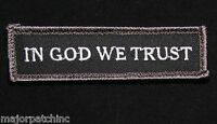 IN GOD WE TRUST USA ARMY MORALE STRAIGHT TAB SWAT VELCRO® BRAND FASTENER PATCH