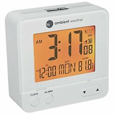 Compact Travel Compact Digital Atomic Alarm Clock Auto Night Light Weather White