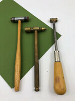 3 Small Brass Metal Wood Jeweler Hammer Machinist Blacksmith Tack Hammers LOT