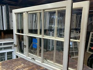 2 - 32 x 25 Vintage Window sash old Beige 6 pane From 1947 Arts & Craft
