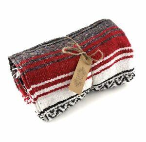 Red Blanket Throw Rug Large stripe Handmade Fair Trade Authentic Mexican Falsa
