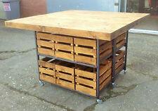 Stunning Large Industrial Rustic Steel & Pine Kitchen Island Breakfast Bar Table