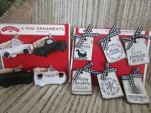10~MINI Christmas ORNAMENTS -Wooden TAGS Holiday Sayings & Black/White TRUCKS