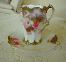 ~1890's~RS~PRUSSIA~CHOCOLATE~CUP~SAUCER~PLATE!~EXQUISITE~TIFFANY~FINISH!