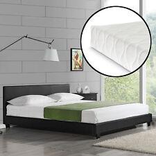 CORIUM® sommier tapissier design + matelas 140 x 200 cm simili-cuir noir lit