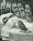 8x10in Louis Wain Cat Nightmare Owl Bird Painting Real Canvas Giclee Art Print