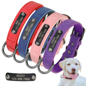 Personalised Pet Cat Dog ID Collar Leather &  Neoprene Padded Name Engraved XS-L