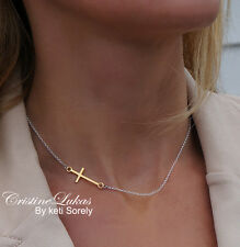 Sideways Cross Necklace - Two Tone in Sterling Silver & yellow Gold