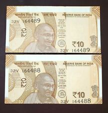 India - Amazing Error pair - 2 Consecutive 10 Rs with cutting error - Gem Unc