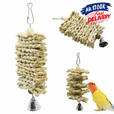 Natural Wooden  Grass Chew  Bird Parrot  Climb Hanging Toys with Bell